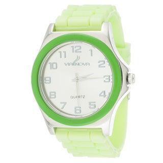 Via Nova Women's Silver Case Green Ring with Green Rubber Strap Watch