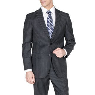 Men's Grey Striped 2-button Suit - Free Shipping Today - Overstock