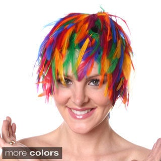 Hackle Feather Multicolored Wig
