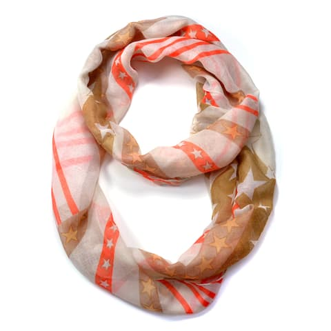 Dasein Star and Stripes Pattern Infinity Scarf