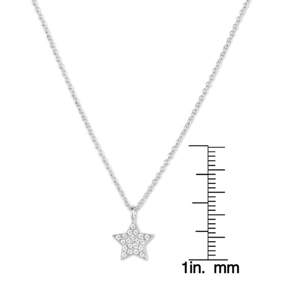 Sterling Silver Pendant Micro-set cubic zirconia outline star New