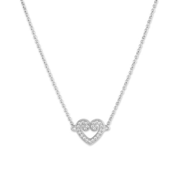 La Preciosa Sterling Silver Micropave CZ Heart Necklace. Opens flyout.