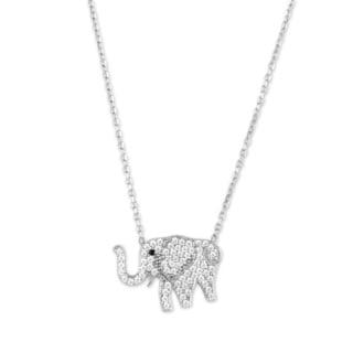 La Preciosa Sterling Silver CZ Elephant Necklace