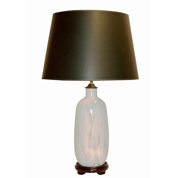 Crown Lighting 1-light Off-white/ Marbleized Ceramic Table Lamp