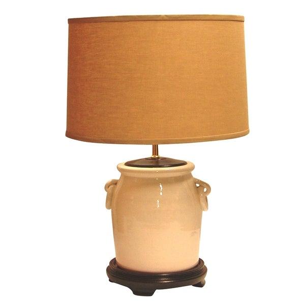 Crown Lighting 1-light Off-white/ Distressed Crackle Glazed Ceramic Handled Jar Table Lamp