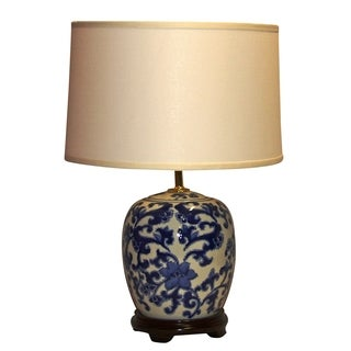 Crown Lighting 1-light Blue/ White Decorative Floral Swirl Porcelain Table Lamp