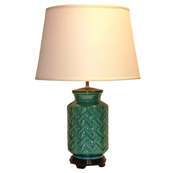 Crown Lighting 1-light Teal/ Dark Turquoise Distressed Crackle Embossed Geometric Design Ceramic Table Lamp
