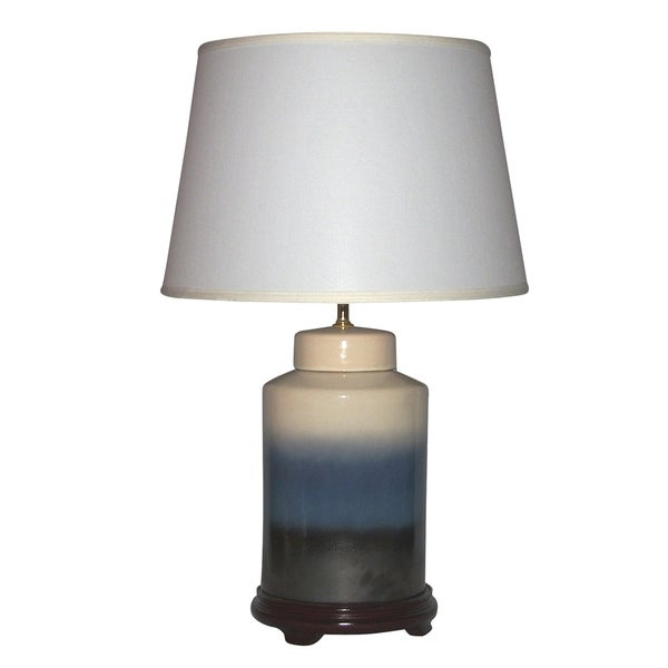 Crown Lighting 1-light Off-white, Dark Blue, and Black Tiered Design Ceramic Table Lamp