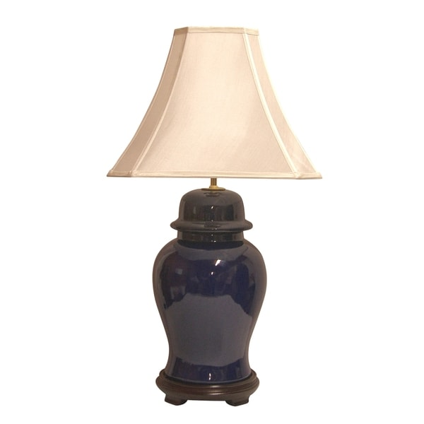 Crown Lighting 1-light Vibrant Cobalt Blue Ceramic Ginger Jar Table Lamp