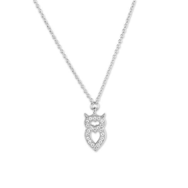 La Preciosa Sterling Silver Micro Pave CZ Small Owl Necklace