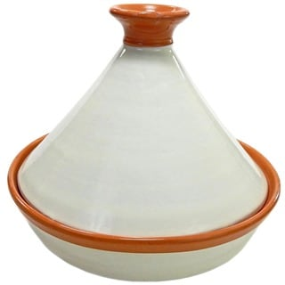 Ivory Ceramic 12-inch Cookable Tagine (Tunisia)