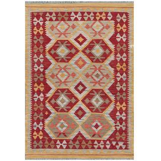 Herat Oriental Afghan Hand-woven Tribal Wool Kilim (4' x 5'8)