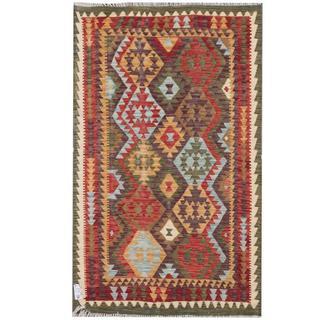 Herat Oriental Afghan Hand-woven Tribal Kilim Gold/ Red Wool Rug (3'11 x 6'6)