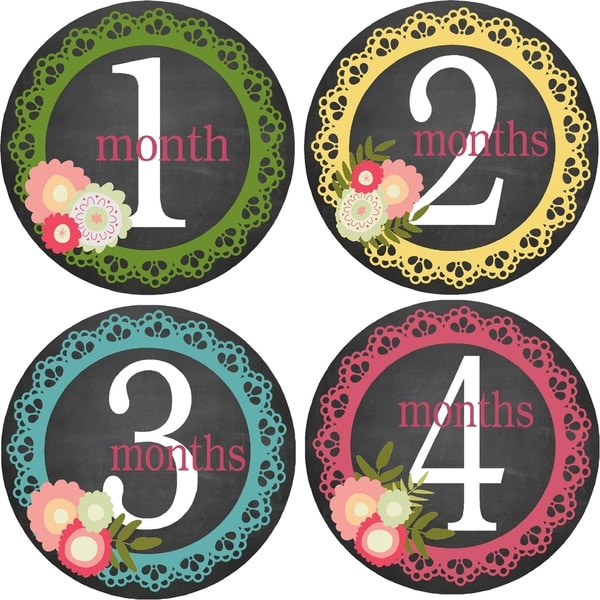 Flowers/ Lace Monthly Baby Bodysuit Stickers (Set of 13)
