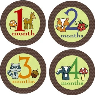 Rocket Bug Woodland Creatures Monthly Baby Bodysuit Stickers (Set of 13)|https://ak1.ostkcdn.com/images/products/9921089/P17078411.jpg?_ostk_perf_=percv&impolicy=medium