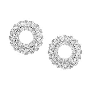 La Preciosa Sterling Silver CZ Open Circle Stud Earrings