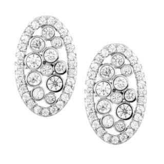 La Preciosa Sterling Silver Micro Pave CZ Oval Stud Earrings