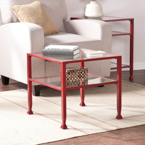 Harper Blvd Red Metal And Glass Bunching Coffee Cocktail Table Free Shipping Today