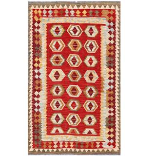 Herat Oriental Afghan Hand-woven Tribal Wool Kilim (3'9 x 6'2)