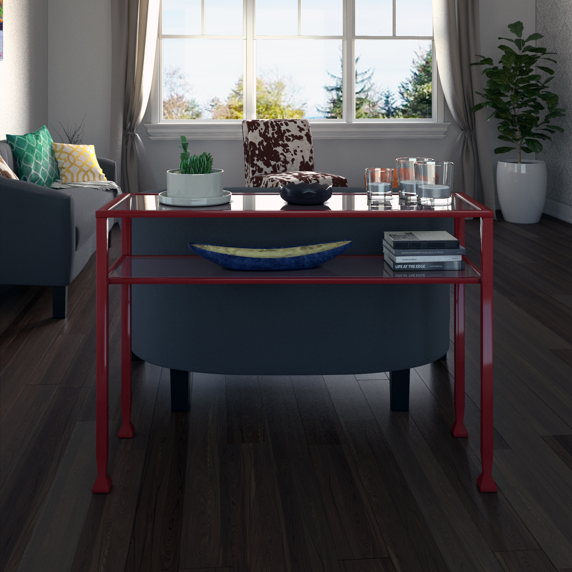 RiNo Brighton Red Metal and Glass Sofa Console Table Free