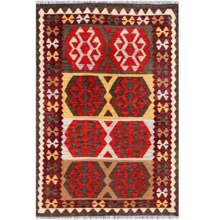Herat Oriental Afghan Hand-woven Tribal Kilim Burgundy/ Gold Wool Rug (4' x 6')