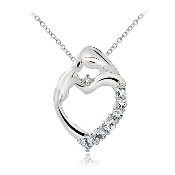 Glitzy Rocks Sterling Silver Aquamarine Diamond Accent Mother and Baby Necklace