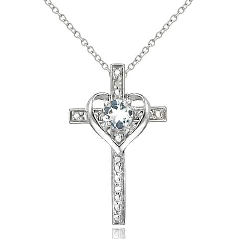 Glitzy Rocks Sterling Silver Aquamarine Diamond Accent Cross Necklace - Blue