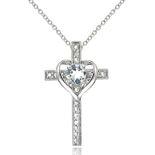 Glitzy Rocks Sterling Silver Aquamarine Diamond Accent Cross Necklace