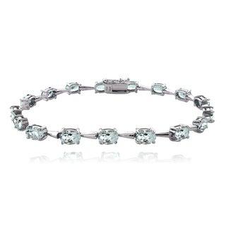 Glitzy Rocks Sterling Silver Aquamarine Bracelet