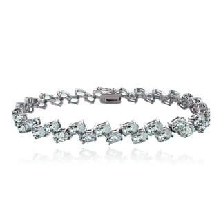 Glitzy Rocks Sterling Silver Aquamarine 2-row Bracelet
