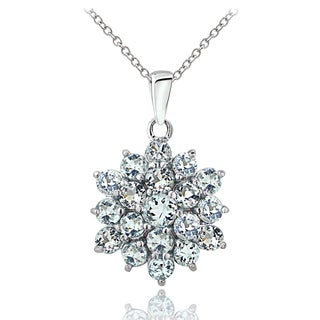 Glitzy Rocks Sterling Silver Aquamarine Flower Necklace