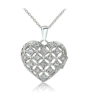 Glitzy Rocks Sterling Silver Aquamarine Diamond Accent Puffed Heart Locket