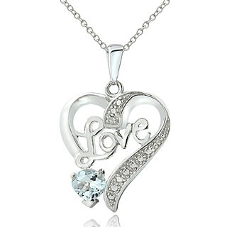 Glitzy Rocks Sterling Silver Aquamarine Diamond Accent 'LOVE' Heart Necklace