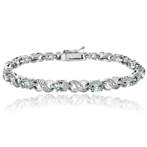 Glitzy Rocks Sterling Silver Aquamarine Diamond Accent Infinity Bracelet