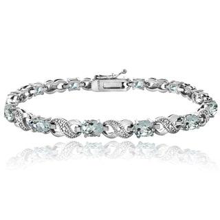 Link to Glitzy Rocks Sterling Silver Aquamarine Diamond Accent Infinity Bracelet Similar Items in Bracelets