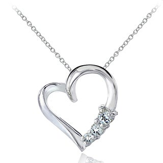 Glitzy Rocks Sterling Silver Aquamarine Heart Necklace