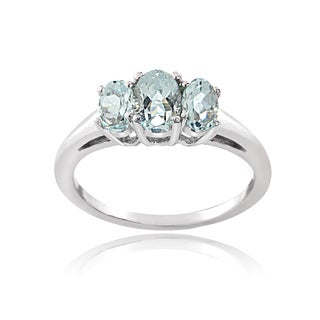 Glitzy Rocks Sterling Silver Aquamarine 3-stone Ring
