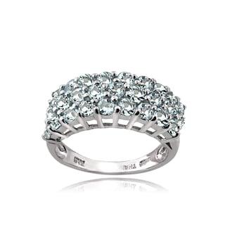 Glitzy Rocks Sterling Silver 3-Tier Aquamarine Eternity Ring