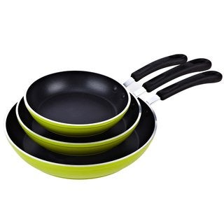 Cook N Home 3-piece 8, 10, and 12-inch Green Nonstick Fry Saute Pan Set