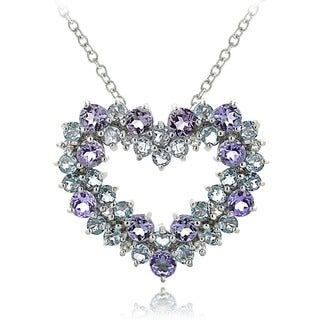 Glitzy Rocks Sterling Silver Amethyst Blue Topaz 1/10ct TDW Diamond Heart Cluster Necklace (I-J, I2-I3)
