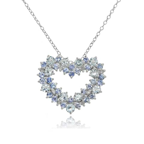 Glitzy Rocks Sterling Silver Aquamarine and Tanzanite with 1/10ct TDW Diamond Heart Cluster Necklace (I-J, I2-I3)