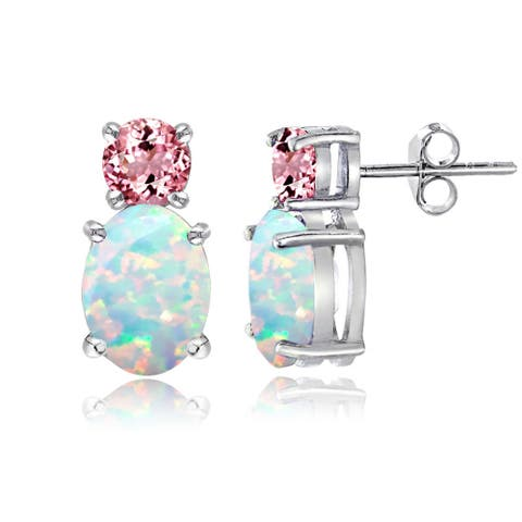 Glitzy Rocks Sterling Silver Created Opal and Pink Tourmaline Stud Earrings