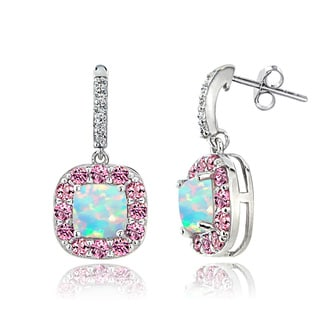 Glitzy Rocks Sterling Silver White Topaz Pink Tourmaline Created Opal Dangle Earrings