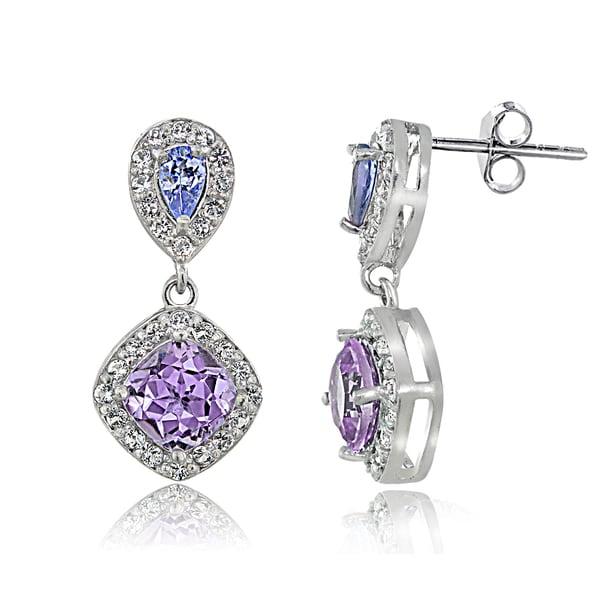 16ff22006 Glitzy Rocks Sterling Silver Amethyst Tanzanite White Topaz Dangle Earrings