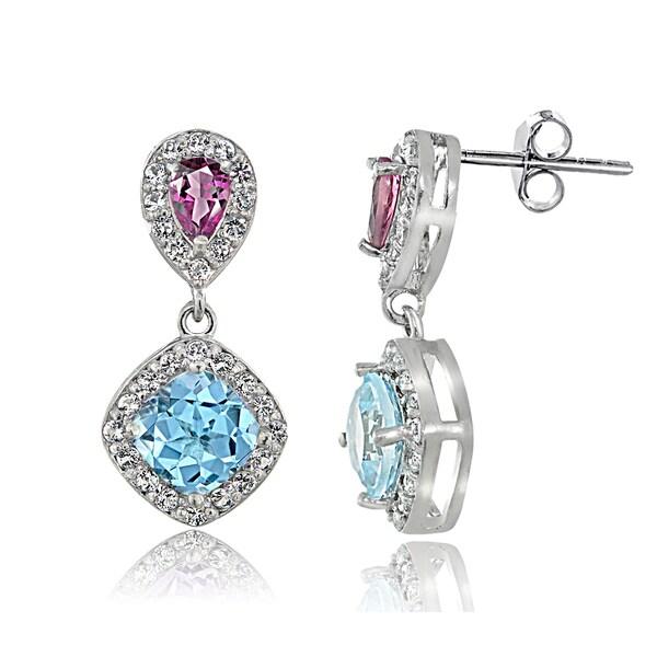Glitzy Rocks Sterling Silver Topaz Pink Tourmaline Dangle Earrings