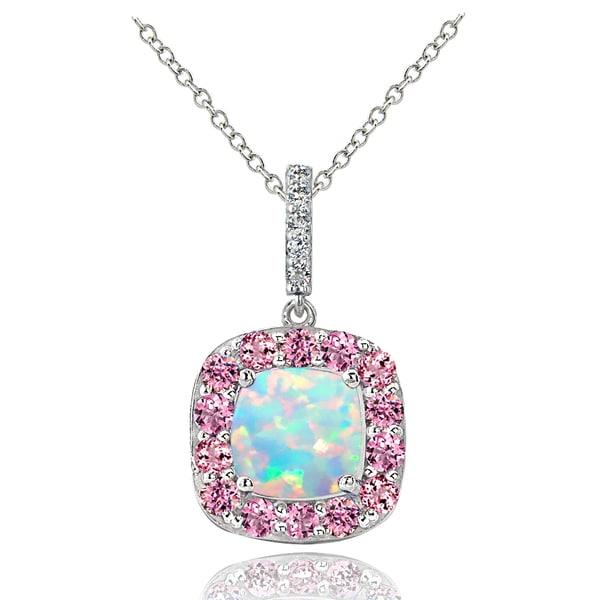 Glitzy Rocks Sterling Silver White Topaz Pink Tourmaline Created Opal Necklace