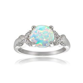 Glitzy Rocks Sterling Silver Created Opal White Topaz Ring