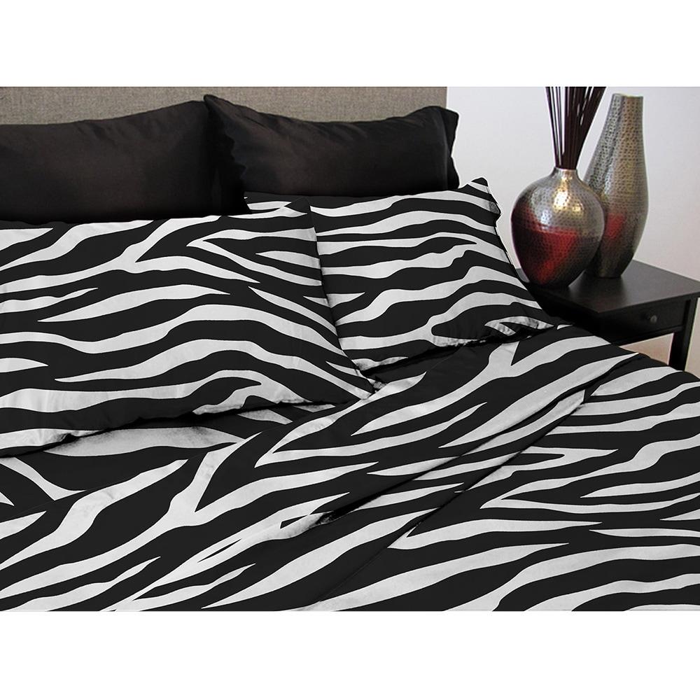 Satin Zebra Printed Sheet Set (California King), Black (P...