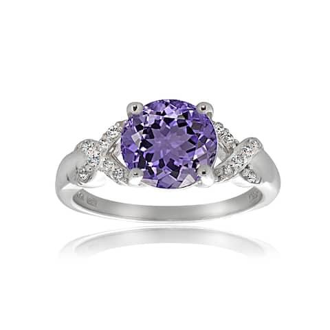 Glitzy Rocks Sterling Silver African Amethyst White Topaz Ring - Purple
