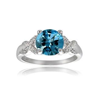 Glitzy Rocks Sterling Silver Swiss Blue Topaz White Topaz Ring